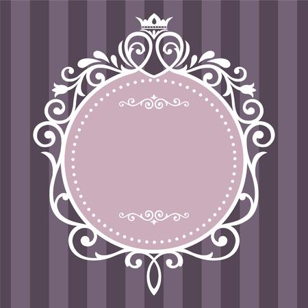 Vintage frame op paarse streep achtergrond