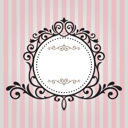Vintage frame on pink stripe background  イラスト・ベクター素材