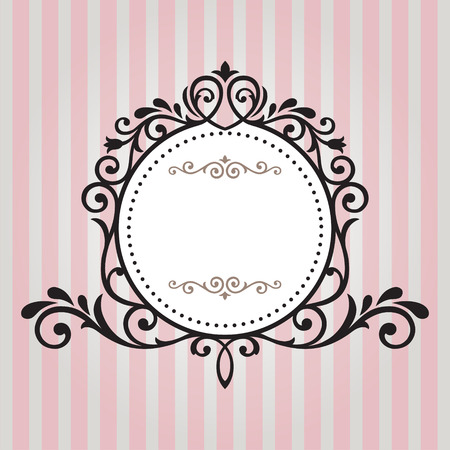 copy text: Vintage frame on pink stripe background Illustration