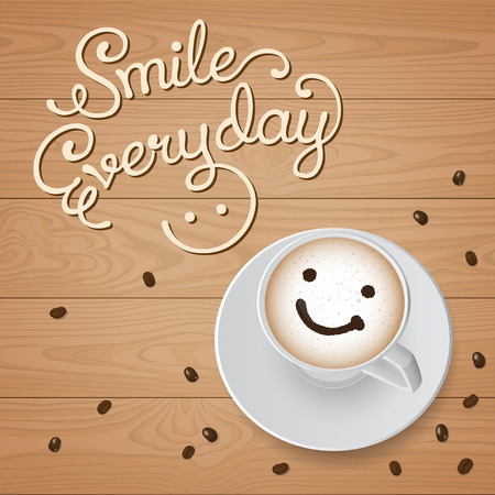 coffee: Top view of smile cappuccino with coffee beans on wooden background