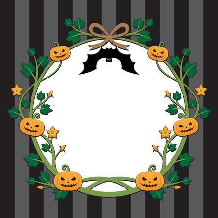 pumpkin border: Vintage frame ; Halloween pumpkin border design on stripe background