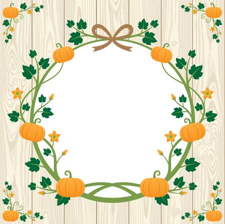 pumpkin border: Vintage frame ; Halloween pumpkin border design on wooden background Illustration