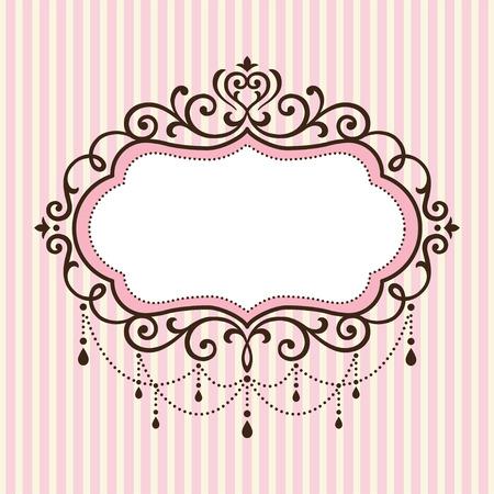 Kroonluchter vintage grens frame op roze streep achtergrond