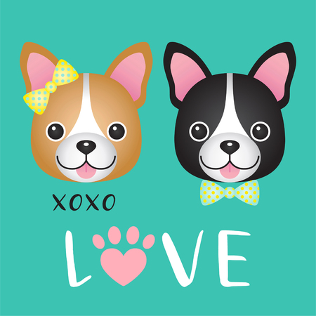 Valentine Day, Cute couple French Bulldog cartoon on green background Illustration