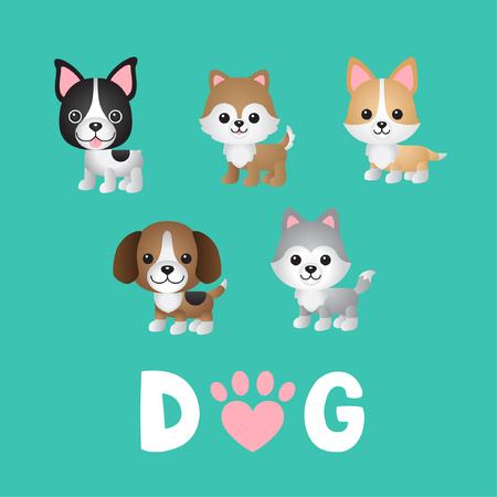Set van honden karakter illustratie Stock Illustratie