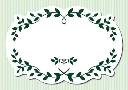 Leaves frame on green background