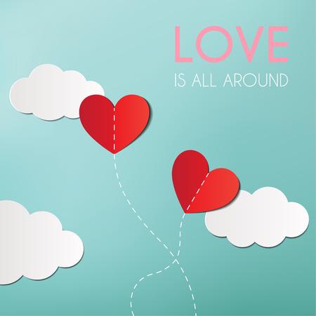 Origami maakte hartballonnen en wolken, Hartballon op de lucht