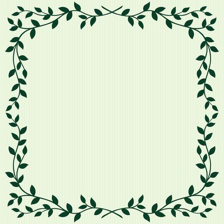 Bladeren frame op groene achtergrond Stock Illustratie