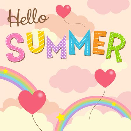 Hello Summer tekst met hart vorm ballonnen op zoete hemel achtergrond
