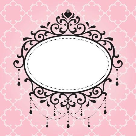 Het ontwerp van de kroonluchter uitstekende frames op roze achtergrond Stock Illustratie