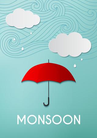 Regenachtige dag, origami maakte paraplu en wolken op blauwe hemelachtergrond Stock Illustratie