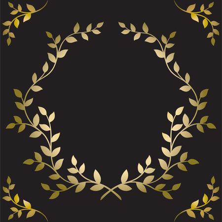 Golden leaves frame on black background