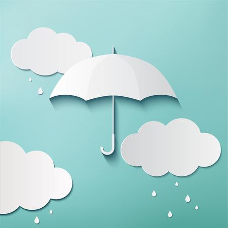 Día lluvioso, Origami hizo paraguas y nubes, Foto de archivo - 80100507