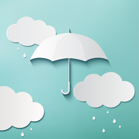 Rainy day, Origami made umbrella and clouds, Фото со стока - 80100507