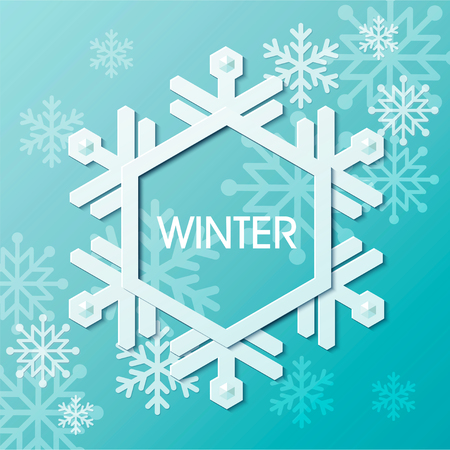Winter, sneeuwvlok grens ontwerp op blauwe achtergrond