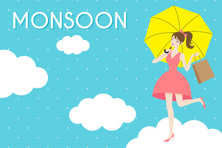 Monsoon aanbod, Meisje met paraplu op regenachtige patroon achtergrond.