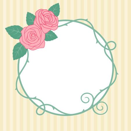 Vintage rozen frame op gestreepte achtergrond.