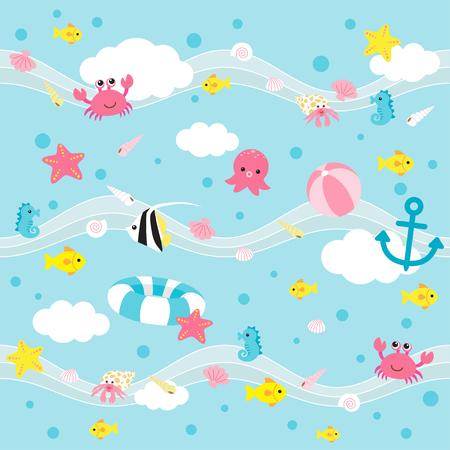 Schepselen patroon, Schattige zee dieren op water patroon achtergrond. Stock Illustratie