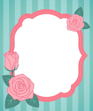Cute roses vintage frame on green striped background. Illustration