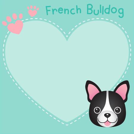 French bulldog frame on heart shape.