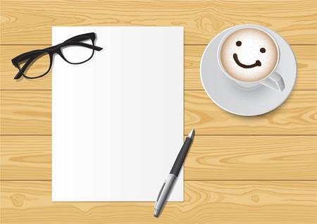 Realistische werkplekorganisatie. Bovenaanzicht; glazen, pen en glimlach koffiekopje op houten bureau Stock Illustratie