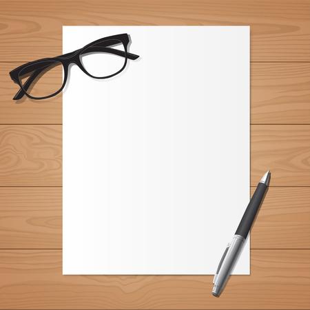 Werkplaats, bovenaanzicht van een blanco papier met een bril en een pen op houten bureau Stock Illustratie