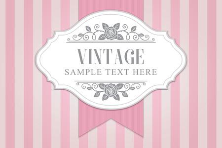 Rozen vintage frame met lint op roze gestreepte achtergrond