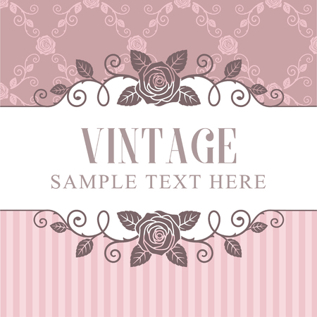 Rozen vintage frame op roze patroon achtergrond