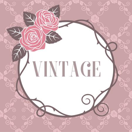 Rozen vintage grens op roze patroon achtergrond