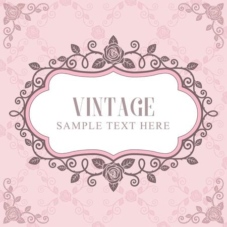 Uitnodigingskaart, Rozen vintage frame op roze patroon achtergrond