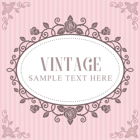 Uitnodigingskaart, rozen vintage frame op roze gestreepte achtergrond