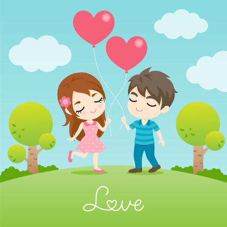 Leuk paar, beeldverhaalontwerp van de mens en vrouw met de ballon van de hartvorm in de tuin. vectorillustratie