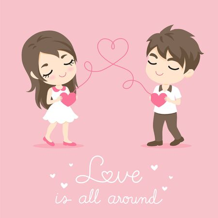 wedded: Cute Couple, Character design of happy man and woman with heart shape on pink bacground, vector illustration