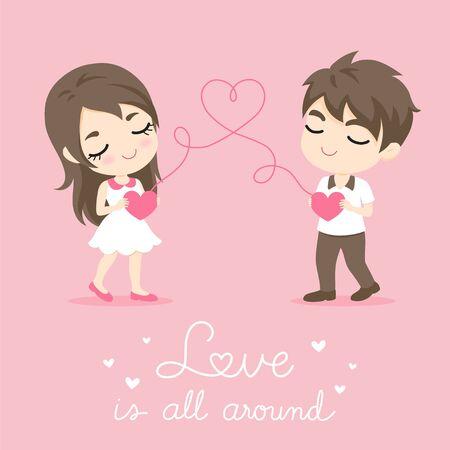 Leuk Paar, Karakter ontwerp van gelukkige man en vrouw met hart vorm op roze bacground, vectorillustratie Stock Illustratie