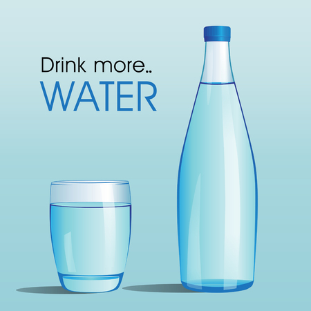 Fles water en glas