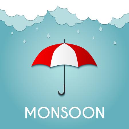 Regenachtige dag, Monsoon aanbod, Origami maakte paraplu en wolken Stock Illustratie