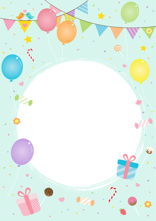 Colorful party background, decoration with balloon, gift, flag and sweet