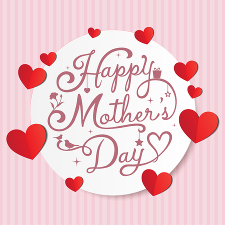 Happy Mothers Day calligraphy on pink strip background
