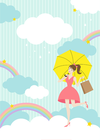 Monsoon offer, pretty girl with unbrella on rainy sky background