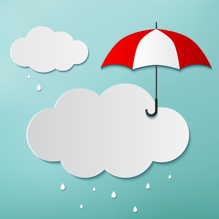 Rainy day, Origami made umbrella and clouds, Stock Illustratie