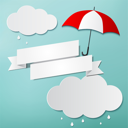 Rainy day, Origami made umbrella, flag and clouds Stock Illustratie