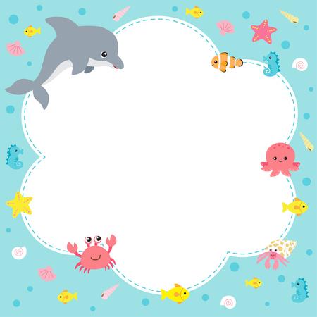 Cute sea creatures design template on blue background