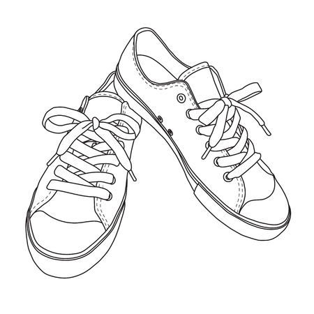 Vector illustration of hand drawn graphic Footwear, shoes. sport style, Doodle, drawing Design isolated object.