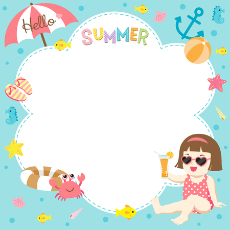 Hello summer ; Happy girl with cute sea creatures design template on blue water background Stock Illustratie