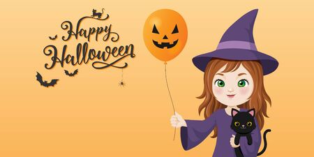 happy halloween calligraphy, Cute witch with black cat and halloween balloon on orange background