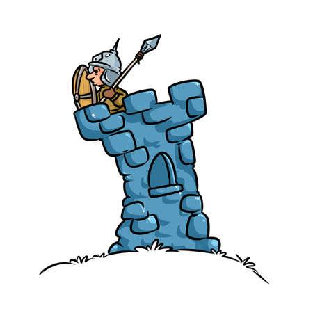 타워 전사 중세 요새 만화 그림 스톡 콘텐츠