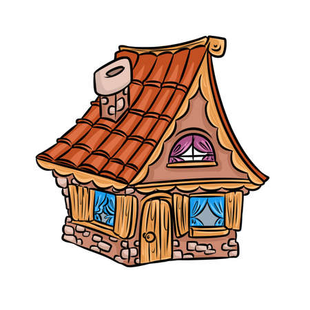 roof shingles: house small village cartoon illustration isolated image architecture