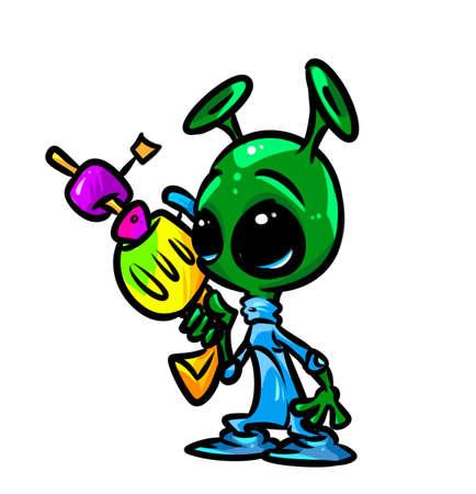 alien blaster cartoon illustration isolated image character Stock Photo