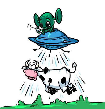 Vliegende schotel UFO vreemdeling stelen verbazen koeien cartoon afbeelding vliegende hemel Stockfoto
