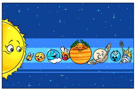 Solar System planets Sun, Mercury, Venus, Earth, Mars, Jupiter, Saturn, Uranus Pluto cartoon illustration